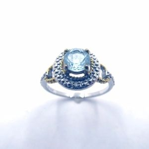 Sterling Round Cut Topaz Ring - Size 8
